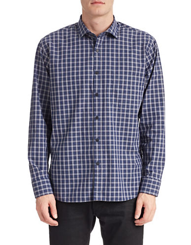 Billy Reid Standard Cut Cotton Plaid Shirt-GREY/NAVY-X-Large