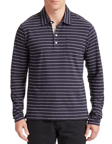 Billy Reid Rib Stripe Polo Shirt-NAVY/LIGHT HEATHER GREY-Small