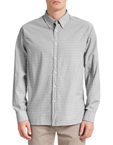 Billy Reid Murphy Diamond Dot Sport Shirt-LIGHT GREY-X-Large