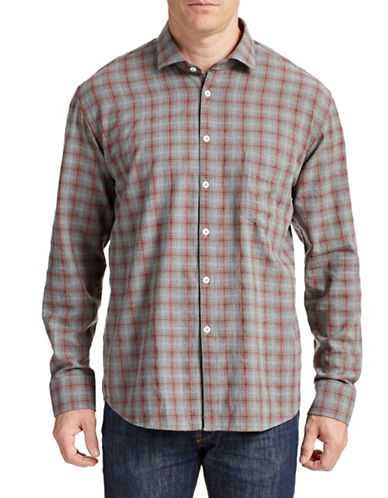 Billy Reid John Plaid Cotton Shirt-GREY/PINK-Small