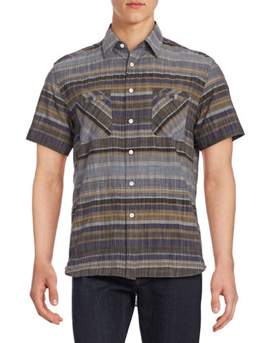 Billy Reid Patchwork Print Sport Shirt-IRIS/CURRY-X-Large