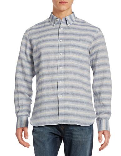 Billy Reid Tuscumbia Linen-Cotton Sport Shirt-IRIS/NATURAL-X-Large