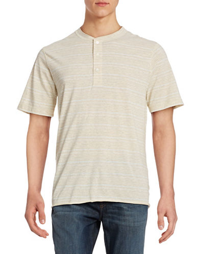 Billy Reid Striped Hunter Henley Tee-NATURAL/HEATHER-Small