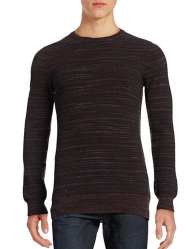 Billy Reid Blurred Stripe Wool Sweater-BROWN-Small