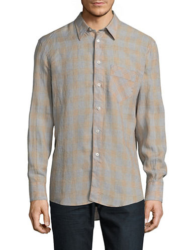 Billy Reid Tonal Plaid Linen Sport Shirt-GREY-Medium