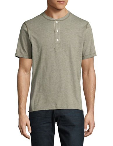 Billy Reid Short-Sleeve Striped Hunter Henley-GREEN-Small