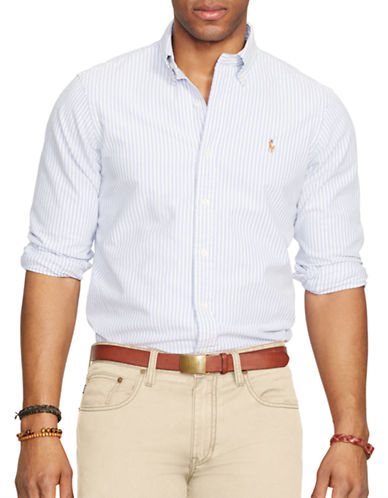 52f31c0dadb5 UPC 889425074052 product image for Polo Ralph Lauren Slim Fit Striped  Stretch Oxford Shirt-BLUE ...