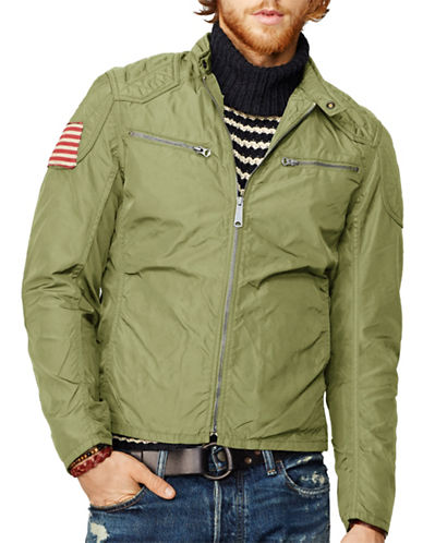 Denim & Supply Ralph Lauren Wax Nylon Moto Jacket-GREEN-Medium 87736629_GREEN_Medium