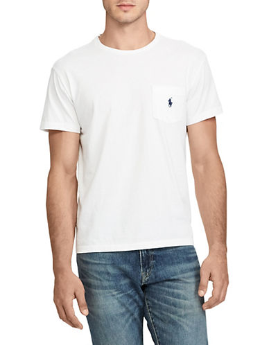 Polo Ralph Lauren Classic-Fit Pocket Crew Neck T-Shirt-WHITE-Medium 87885690_WHITE_Medium