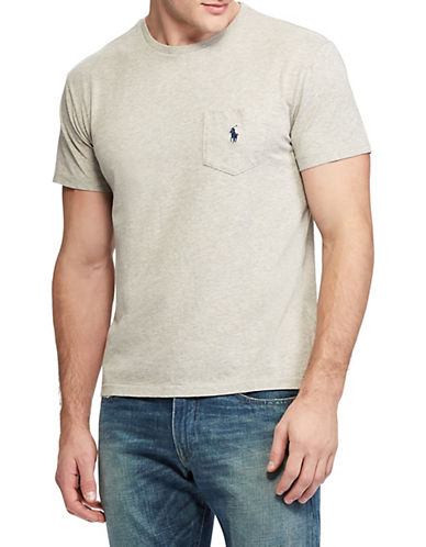 Polo Ralph Lauren Classic-Fit Pocket Crew Neck T-Shirt-NEW GREY HEATHER-X-Large