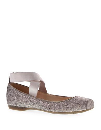 Jessica Simpson Mandalaye Glitter Elastic Ballet Flats-GOLD-8.5