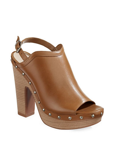 Jessica Simpson Daine Leather Platform Sandals-TAN-10