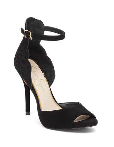 Jessica Simpson Bellona Scalloped Suede Sandals-BLACK SUEDE-7.5