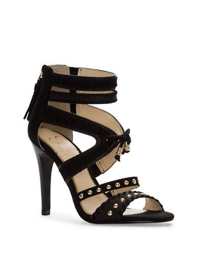 Jessica Simpson Elishia Stud Strap Heels-BLACK-8.5