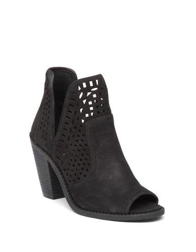 Jessica Simpson Cherrell Nubuck Peep-Toe Booties-BLACK-8