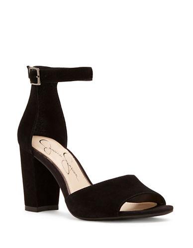 Jessica Simpson Sherron Suede Ankle-Strap Sandals-BLACK-5.5