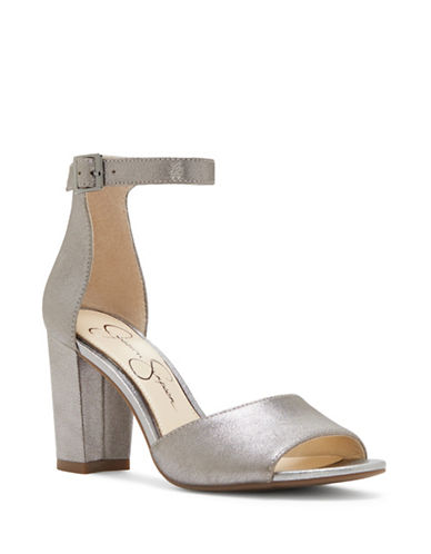 Jessica Simpson Sherron Leather Ankle-Strap Sandals-GREY-9