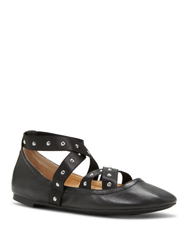 Jessica Simpson Nariah Leather Ballet Flats-BLACK-10