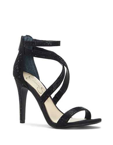 Jessica Simpson Emilyn Studded Dress Sandals-BLACK-7.5