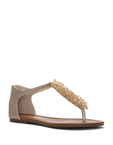 Jessica Simpson Kenton Embellished Thong Sandals-GOLD-7.5