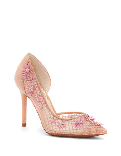 Jessica Simpson Leighah Fishnet Point Toe Pumps-NUDE BLUSH-7.5