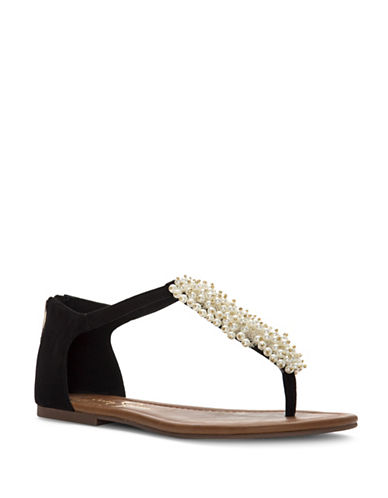 Jessica Simpson Kenton Embellished Thong Sandals-BLACK-8.5