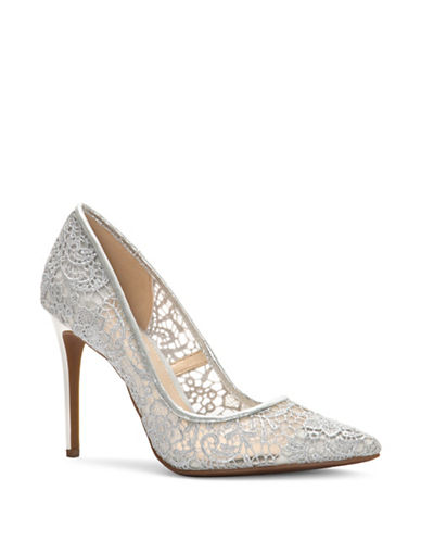Jessica Simpson Lace Point Toe Pumps-SILVER-9