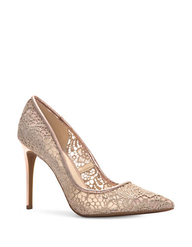 Jessica Simpson Lace Point Toe Pumps-GOLD-6.5
