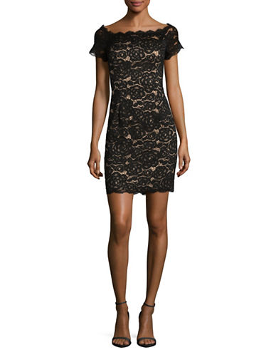 Adrianna Papell Boat Neck Lace Sheath Dress-BLACK-10