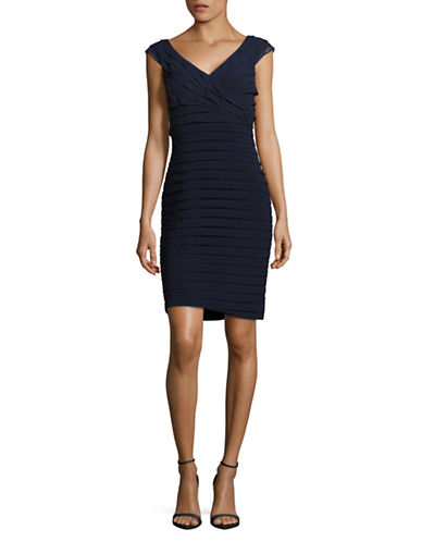 Adrianna Papell Surplice Shutter Sheath Dress-BLUE-12