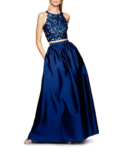 Adrianna Papell Sequin Racer Back Top with Ball Gown Skirt-TWILIGHT-4