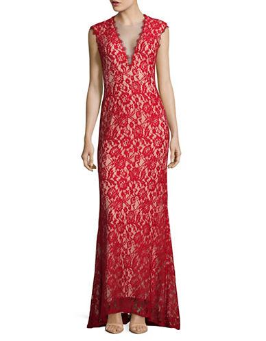 Aidan Aidan Mattox Deep-V Lace Gown-RED/NUDE-12