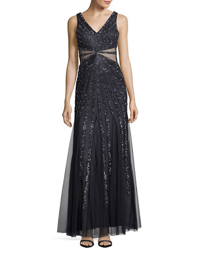 Adrianna Papell Sequined Ray Illusion Gown-CHARCOAL-4
