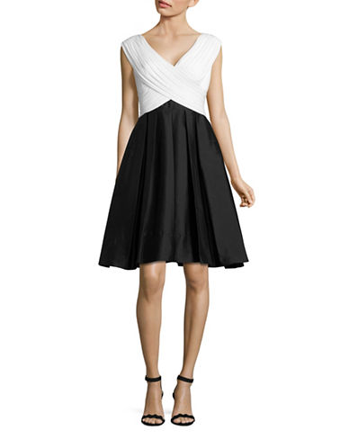 Adrianna Papell Pleated Taffeta Fit-and-Flare Dress-BLACK-8