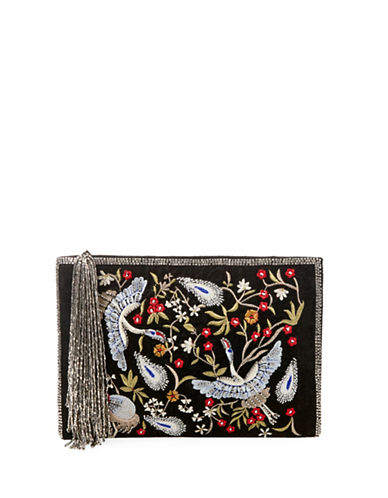 Steve Madden Embroidered Clutch-BLACK-One Size