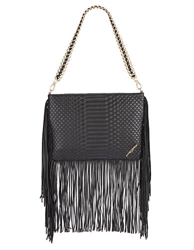 B Brian Atwood Nepal Leather Fringe Shoulder Bag-BLACK-One Size