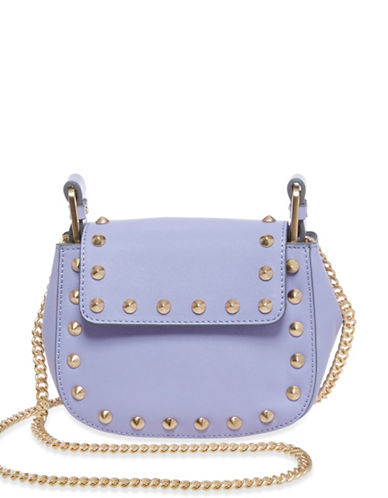 B Brian Atwood Ricki Studded Leather Crossbody-PURPLE-One Size