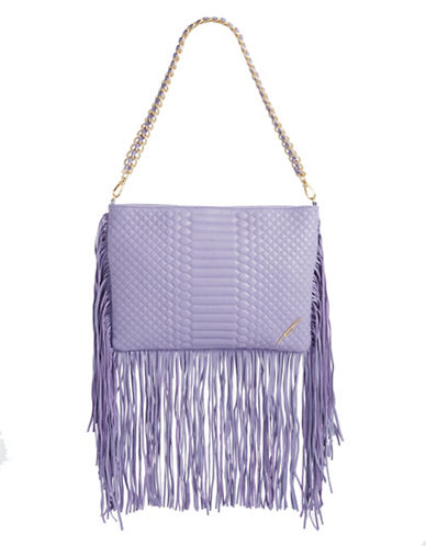 B Brian Atwood Nepal Leather Fringe Shoulder Bag-LAVENDER-One Size