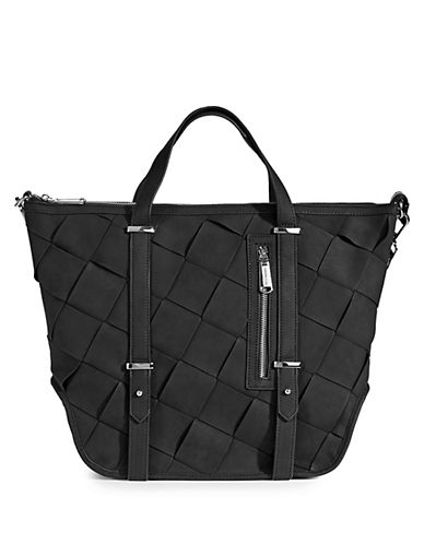 Steve Madden Sydney Braided Tote Purse-BLACK-One Size