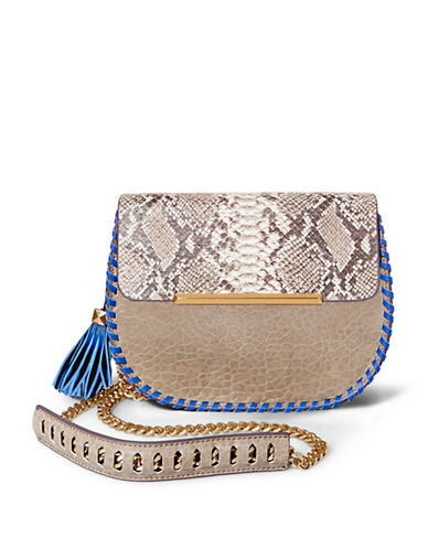 B Brian Atwood Grace Leather and Snakeskin Crossbody-TAUPE-One Size
