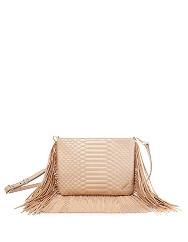 B Brian Atwood Landon Quilt Fringe Crossbody Bag-GOLD-One Size