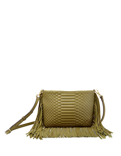 B Brian Atwood Landon Quilt Fringe Crossbody Bag-GREEN-One Size