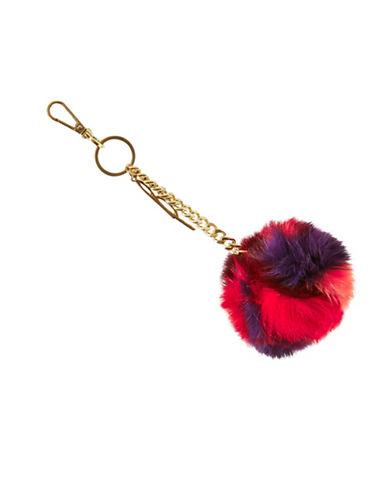 B Brian Atwood Tiara Fur Pom-Pom Keychain-RED-One Size