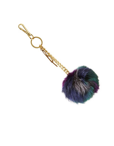 B Brian Atwood Tiara Fur Pom-Pom Keychain-BLUE-One Size