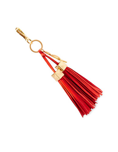 B Brian Atwood Paige Leather Tassel Charm-ORANGE-One Size