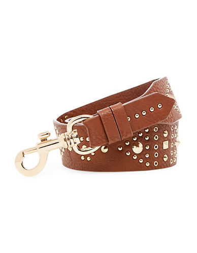 Steve Madden 45-Inch Stud 2 Faux Leather Guitar Strap-BROWN-One Size