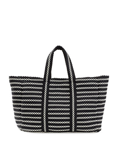 B Brian Atwood Tassel Dangle Woven Tote-BLACK-One Size