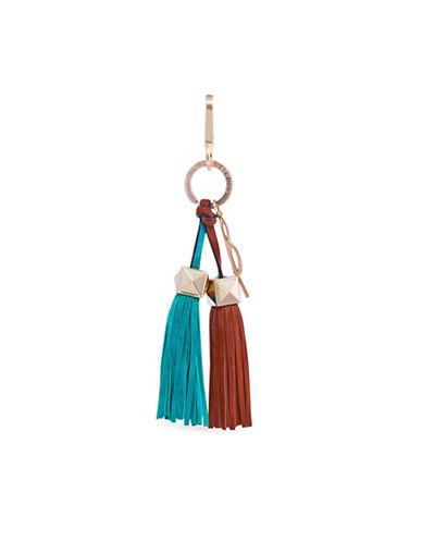 B Brian Atwood Paige Leather Tassel Charm-AQUA-One Size