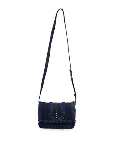 Steve Madden Blucas Frayed and Studded Canvas Crossbody Bag-NAVY BLUE-One Size