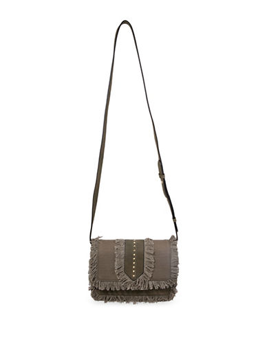 Steve Madden Blucas Frayed and Studded Canvas Crossbody Bag-OLIVE-One Size